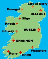 Irish Golf Travel TailorMade Golf Tours Ireland - Major airports in usa map